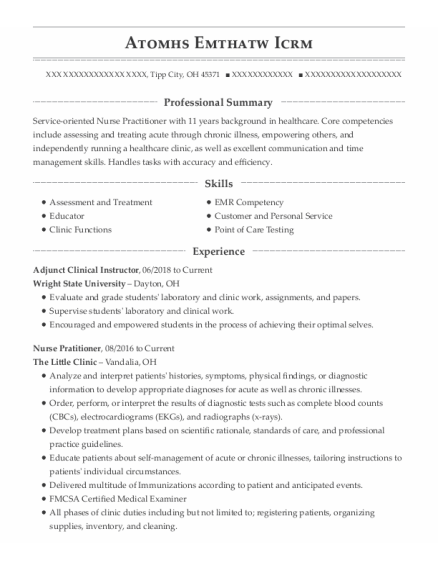 Adjunct Clinical Instructor resume example Ohio
