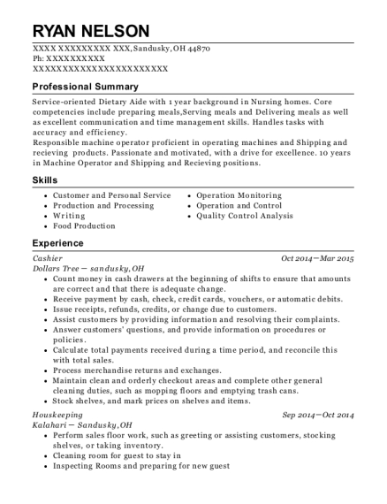 Cashier resume example Ohio