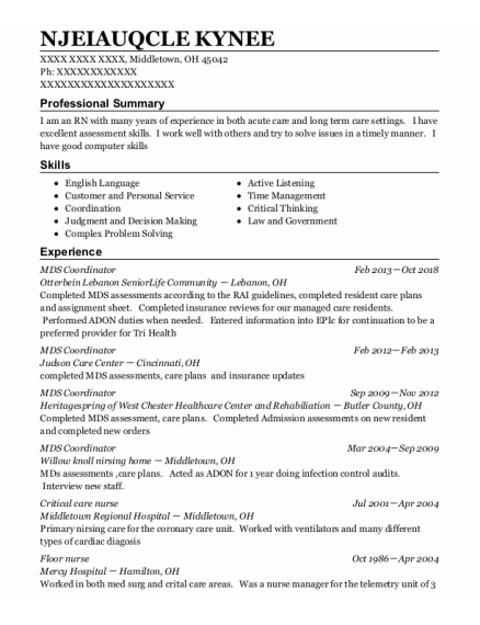 Mds Coordinator resume template Ohio