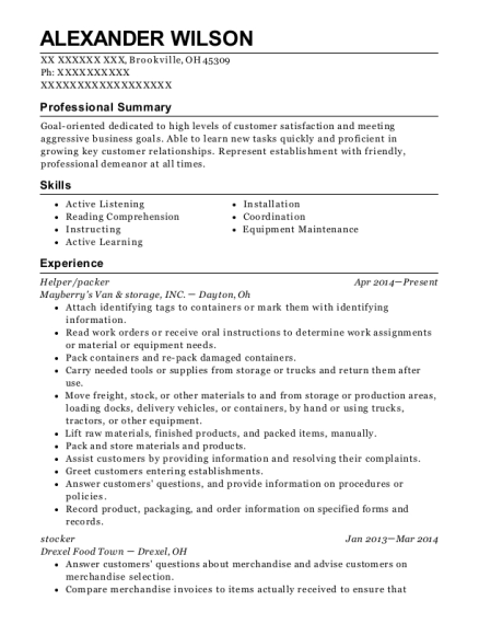 Helper resume example Ohio