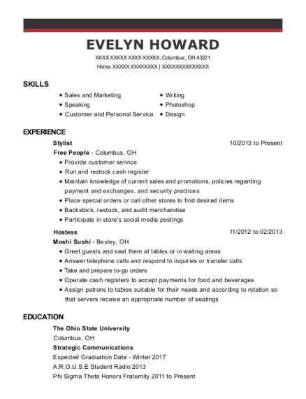 Stylist resume sample Ohio