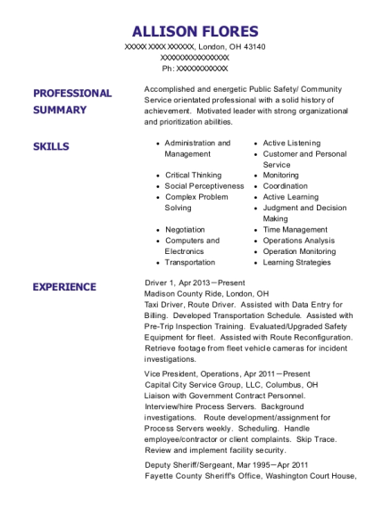 Driver 1 resume sample Ohio