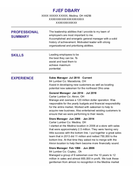 Sales Manager resume template Ohio