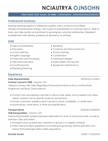 Sales Representative resume example Ohio