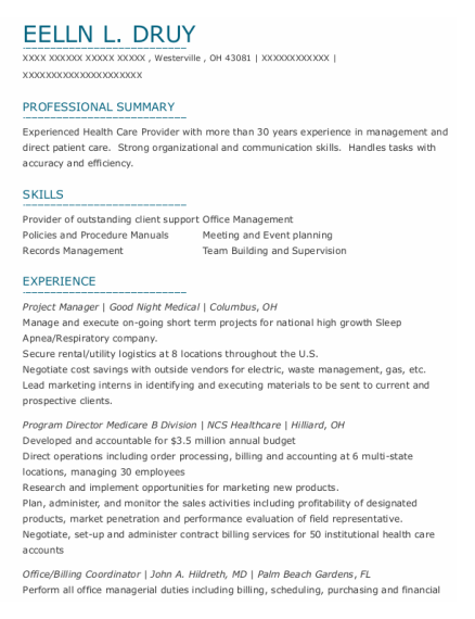 Project Manager resume template Ohio