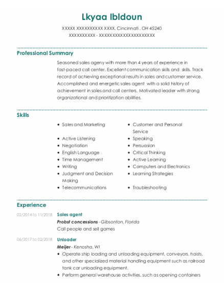 Sales Agent resume template Ohio