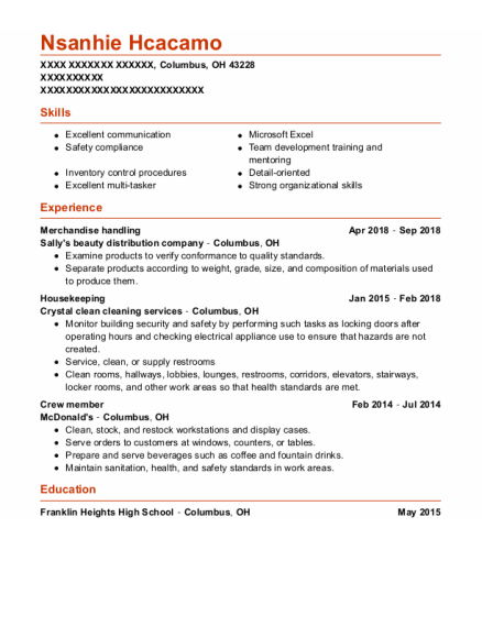 Housekeeping Supervisor resume template Ohio