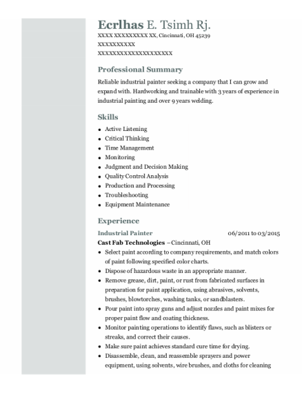 Industrial Painter resume format Ohio