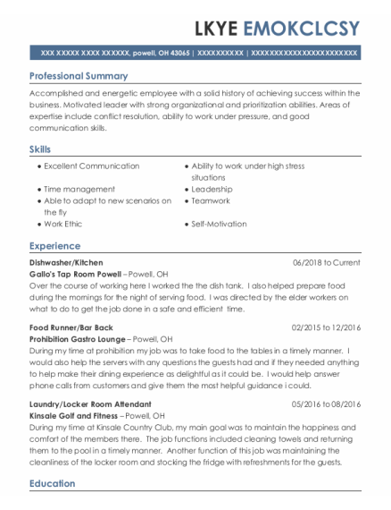 Dishwasher resume sample Ohio