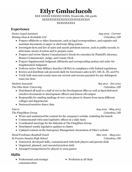 Intern resume example Ohio