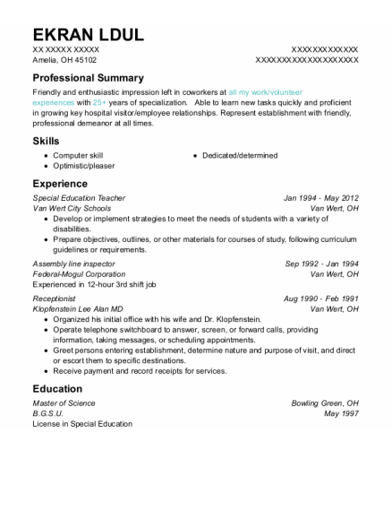 Special Education Teacher resume example Ohio