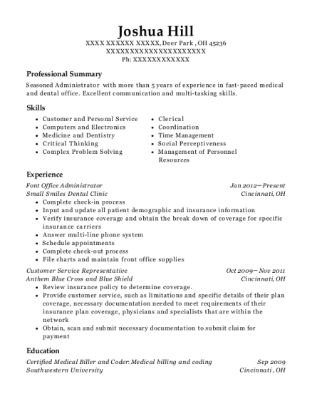 Font Office Administrator resume format Ohio