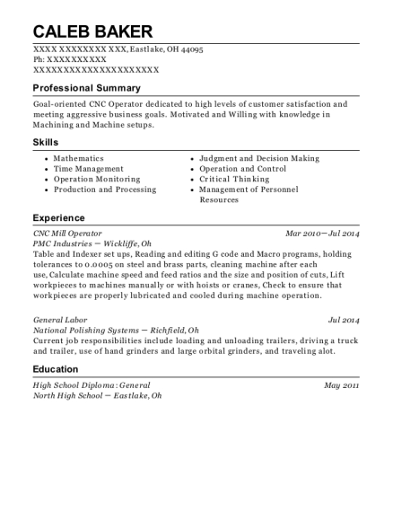 CNC Mill Operator resume template Ohio
