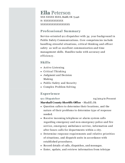 911 Dispatcher resume template Oklahoma