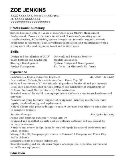 Field Service Engineer resume sample Oklahoma