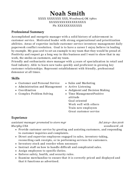 assistant manager promoted to store mgr resume template Oklahoma