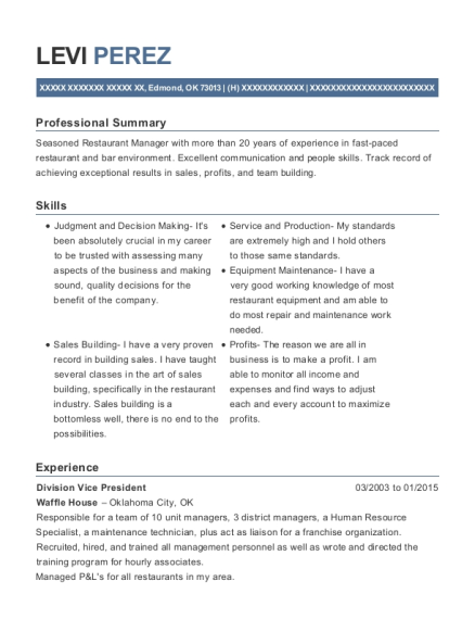 Division Vice President resume template Oklahoma