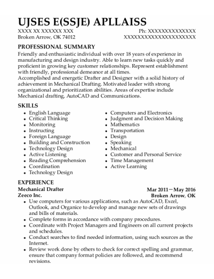 Mechanical Drafter resume format Oklahoma