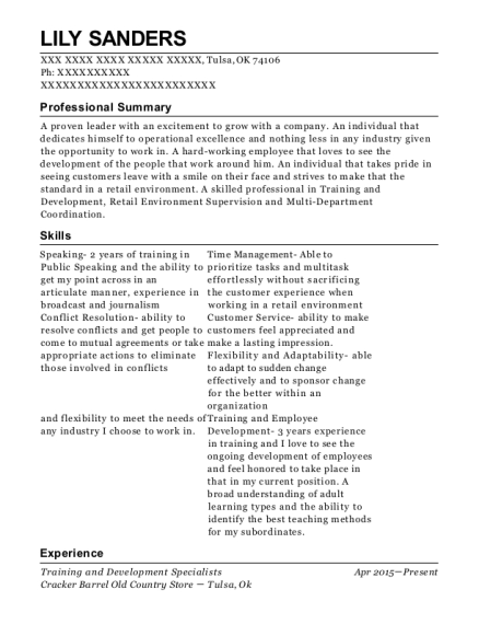 Training and Development Specialists resume template Oklahoma