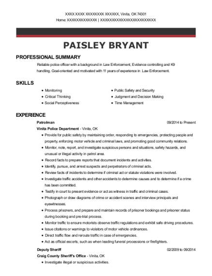 Patrolman resume example Oklahoma