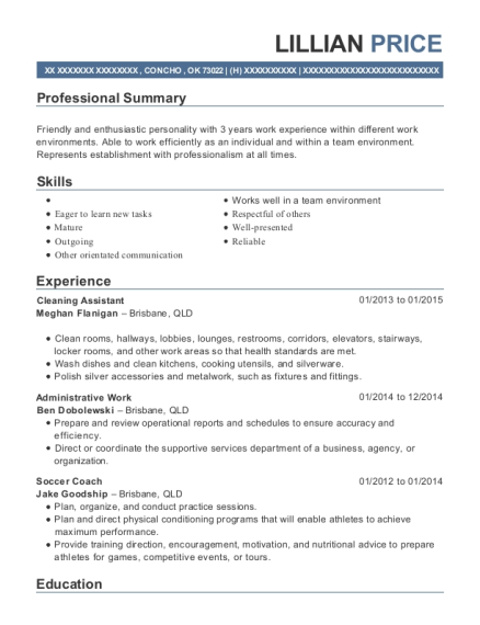 Cleaning Assistant resume template Oklahoma
