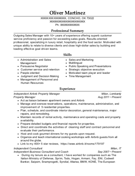Property Manager resume format Oklahoma