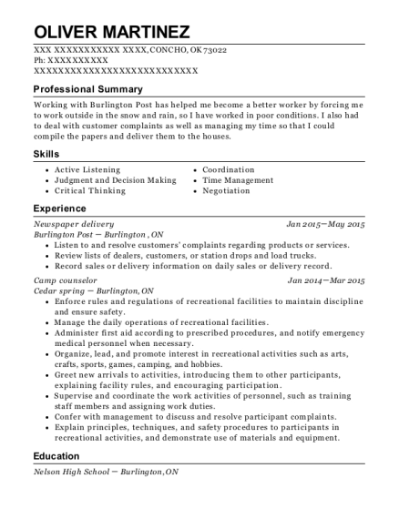 Newspaper delivery resume sample Oklahoma