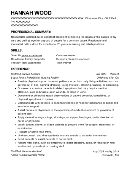 Certified Nurses Assitant resume template Oklahoma