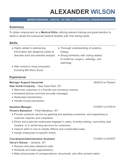 Manager Support Associate resume template Oklahoma