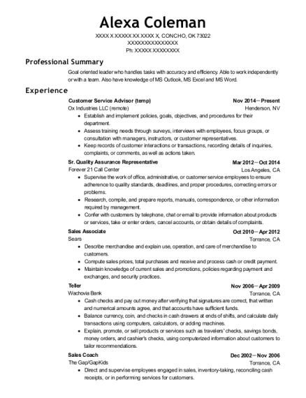 Customer Service Advisor resume format Oklahoma