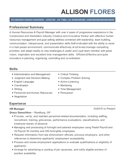 HR Manager resume template Oklahoma