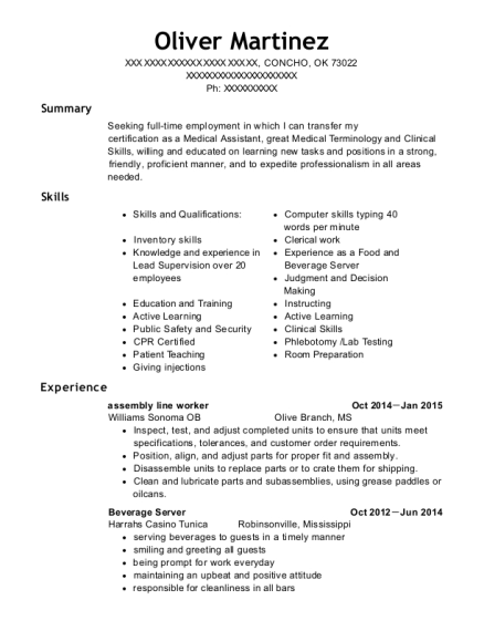 Assembly Line Worker resume format Oklahoma
