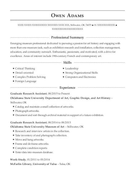 Graduate Research Assistant resume example Oklahoma