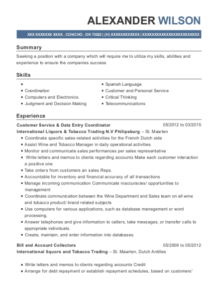 Customer Service & Data Entry Coordinator resume template Oklahoma
