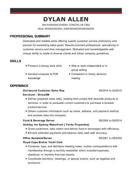 Out bound Customer Sales Rep resume template Oklahoma