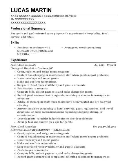 Front Desk Associate resume sample Oklahoma
