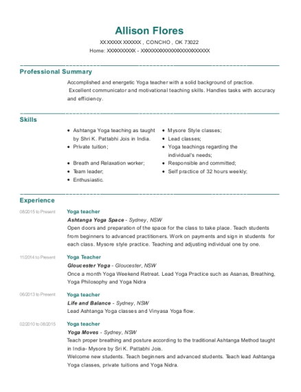 Ashtanga Yoga Space Teacher Resume Sample