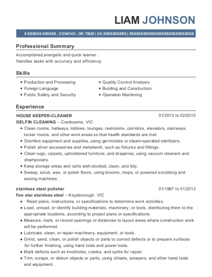 HOUSE KEEPER CLEANER resume template Oklahoma