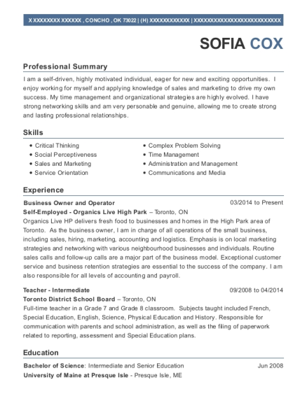 Business Owner and Operator resume template Oklahoma