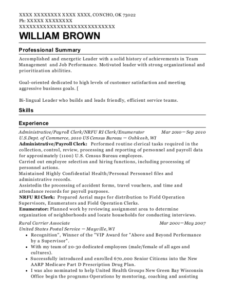 Administrative resume example Oklahoma