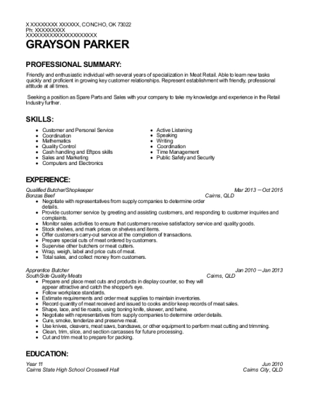 Qualified Butcher resume sample Oklahoma