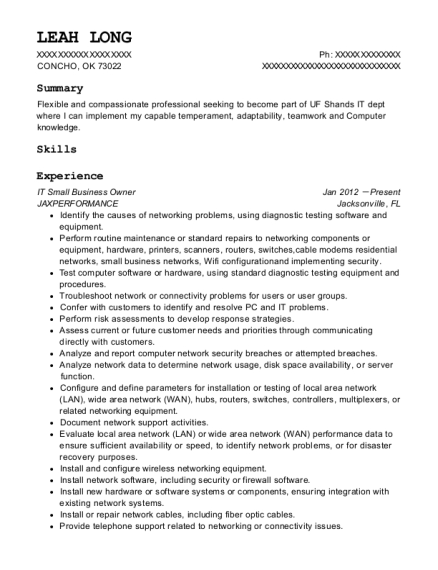 IT Small Business Owner resume format Oklahoma