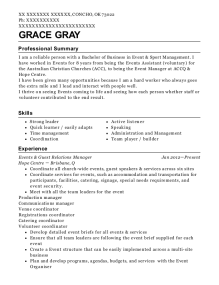 Events & Guest Relations Manager resume template Oklahoma