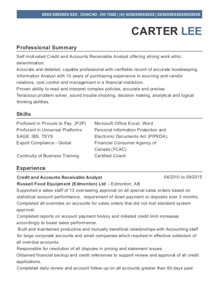 Credit and Accounts Receivable Analyst resume example Oklahoma