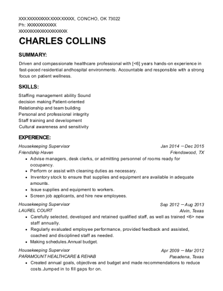 Housekeeping Supervisor resume example Oklahoma