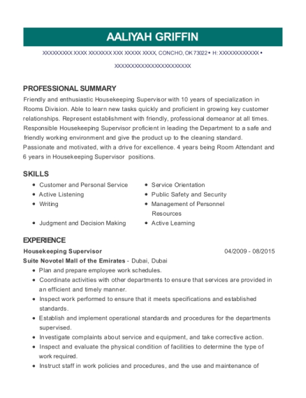 Housekeeping Supervisor resume sample Oklahoma