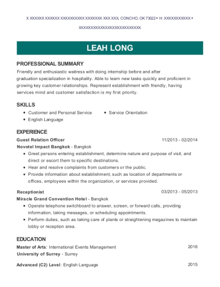 Guest Relation Officer resume example Oklahoma
