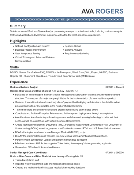 Business Systems Analyst resume format Oklahoma