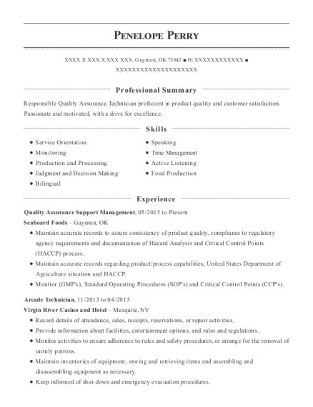 Quality Assurance Support Management resume format Oklahoma