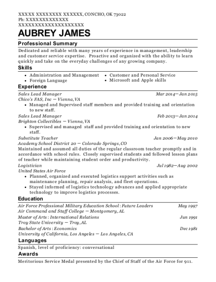 Sales Lead Manager resume template Oklahoma